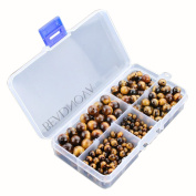 BEADNOVA Yellow Tiger Eye Gemstone Round Loose Beads with Bead Organiser Carry Case for Jewellery Making