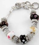 Antique Silver Tone Metal / Black & White Murano Glass Beads