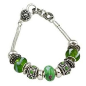 Green, Silver and Black Murano Charm Bracelet with Rhinestones