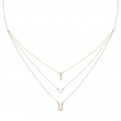 New Rose & Yellow Gold Over 925 Sterling Silver 'I Heart U' 3 Tier Cz Necklace
