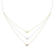 New Rose & Yellow Gold Over 925 Sterling Silver 'Bow' 3 Tier Cz Necklace