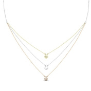 New Rose & Yellow Gold Over 925 Sterling Silver 'Heartlocks' 3 Tier Cz Necklace