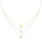 New Rose & Yellow Gold Over 925 Sterling Silver 'Anchor' 3 Tier Cz Necklace
