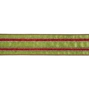 Vickerman 78010cm - 6.4cm x 10yd Red / Green Stripe Ribbon
