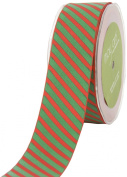 May Arts 3.8cm Wide Ribbon, Red and Green Grosgrain Stripe