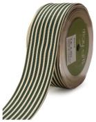 May Arts 3.8cm Wide Ribbon, Green Grosgrain Stripe
