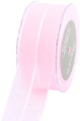 May Arts 3.8cm Wide Ribbon, Light Pink Sheer with Satin Stitches