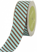 May Arts 3.8cm Wide Ribbon, Brown and Blue Grosgrain Stripe