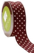 May Arts 3.8cm Wide Ribbon, Burgundy Grosgrain Polka Dot