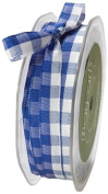 May Arts 1cm Wide Ribbon, Royal Blue and White Cheque