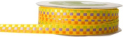 May Arts 1cm Wide Ribbon, Yellow Multicoloured Cheque