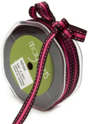 May Arts 1cm Wide Ribbon, Black and Fuchsia Stripes