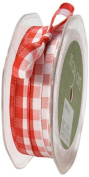 May Arts 1cm Wide Ribbon, Red and White Cheque
