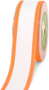 May Arts 3.8cm Wide Ribbon, White Grosgrain with Orange Edge