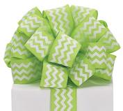 Chevron Ribbon Lime Green & White #9 Wired Woven, 3.8cm w X 20 Yard Roll