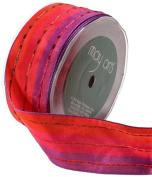 May Arts 3.8cm Wide Ribbon, Fuchsia and Purple with Metallic Stripes