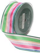 May Arts 3.8cm Wide Ribbon, Pink and Green Stripes