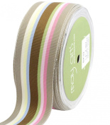 May Arts 3.8cm Wide Ribbon, Champagne and Pastels Grosgrain Stripes