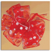 Glittery Snowballs Red and Silver Gift Boxed Wired Craft Ribbon 6.4cm x 10 Yards