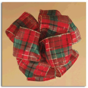 Holiday Plaid Red, Green and Gold Gift Boxed Wired Craft Ribbon 6.4cm x 10 Yards