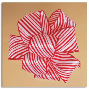 Peppermint Stick Red and White Gift Boxed Wired Craft Ribbon 6.4cm x 10 Yards