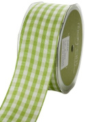 May Arts 3.8cm Wide Ribbon, Light Green Cheque