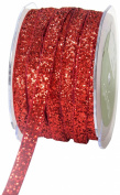 May Arts 1cm Wide Ribbon, Red Metallic Velvet