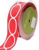 May Arts 3.8cm Wide Ribbon, Red Grosgrain with Ovals