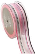 May Arts 3.8cm Wide Ribbon, Pink and Black Stripes