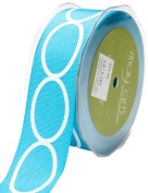 May Arts 3.8cm Wide Ribbon, Turquoise Grosgrain with Ovals