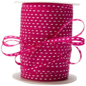 May Arts 0.5cm Wide Ribbon, Fuchsia with White Stitched Centre