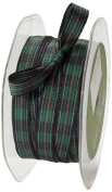 May Arts 1cm Wide Ribbon, Green and Black and Red Plaid