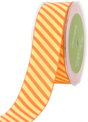 May Arts 3.8cm Wide Ribbon, Orange and Yellow Grosgrain Stripe