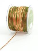 May Arts Ribbon, Rust Orange and Green Satin String