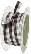 May Arts 1cm Wide Ribbon, Black and White Cheque