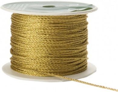 May Arts 1mm Wide Ribbon, Metallic Gold Cord