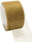 May Arts 5.1cm Wide Ribbon, Metallic Gold Net