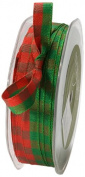 May Arts 1cm Wide Ribbon, Red and Green Cheque