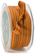 May Arts 1cm Wide Ribbon, Brown and Orange Grosgrain Stripes