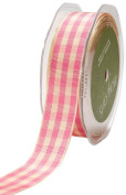 May Arts 2.2cm Wide Ribbon, Pink and Ivory Cheque