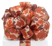 #9 Rustic Autumn Leaf Wired Ribbon