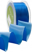 May Arts 3.8cm Wide Ribbon, Blue and Light Blue Reversible