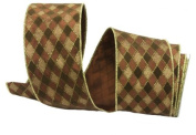Renaissance 2000 Ribbon, 6.4cm , Brown with Diagonal Brown Velvet