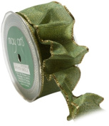 May Arts 3.8cm Wide Ribbon, Green and Yellow Two Tone with Gold Edge