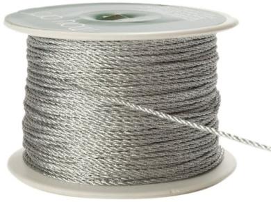 May Arts 1mm Wide Ribbon, Metallic Silver Cord