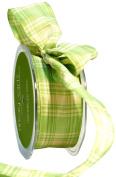 May Arts 3.8cm Wide Ribbon, Parrot Green Plaid