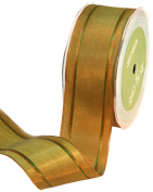 May Arts 3.8cm Wide Ribbon, Green and Antique Gold Solid Iridescent