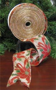 Perky Poinsettia Holiday Christmas Ribbon [55884]