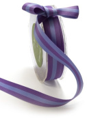 May Arts 1cm Wide Ribbon, Purple and Lavender Reversible Stripes