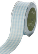 May Arts 1cm Wide Ribbon, Light Blue Cheque